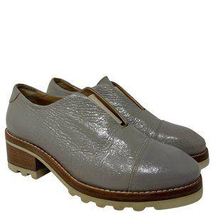 Acne Studios Meg Grey Crackled Leather Laceless Oxford Shoes Size 37 US 7